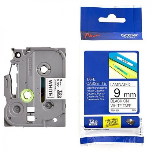 Brother Tape Cassette Black on White 9mm TZE-221
