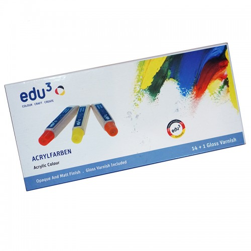 Edu3 Acrylic Colours 14+1 Gloss Varnish
